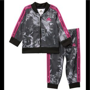 Adidas Grey Floral Tracksuit with Fuchsia Stripes
